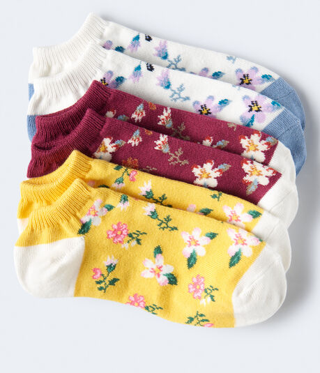 Colorblock Floral Ankle Sock 3-Pack