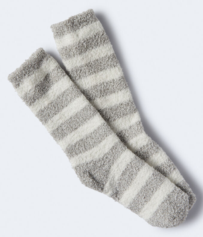 Marled Stripe Metallic Fuzzy Crew Socks