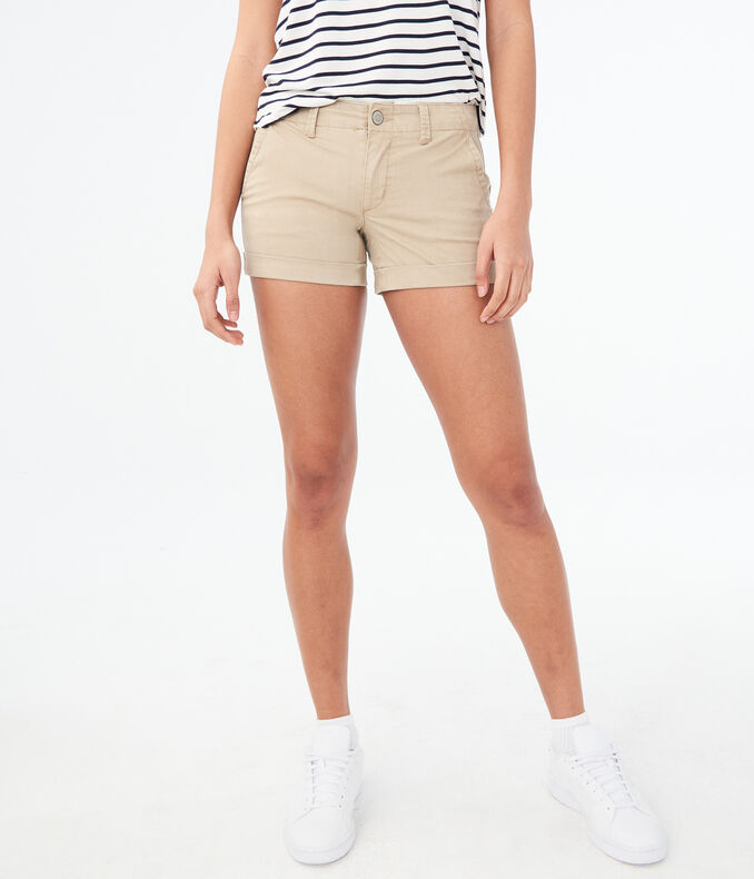 Twill Cuffed Midi Shorts by Aeropostale