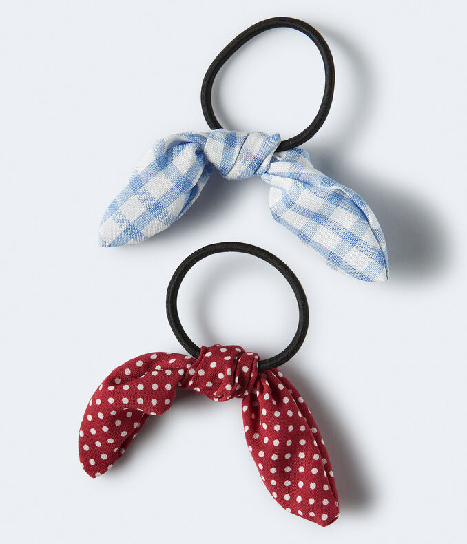 Gingham & Dot Bow Hair Tie 2-Pack