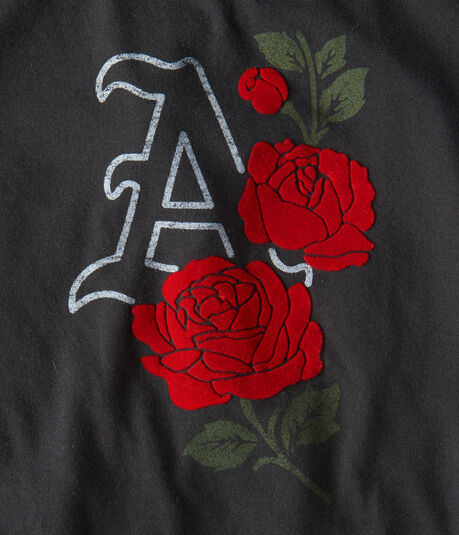 """Free State """"A"""" Flocked Roses Graphic Tee"""