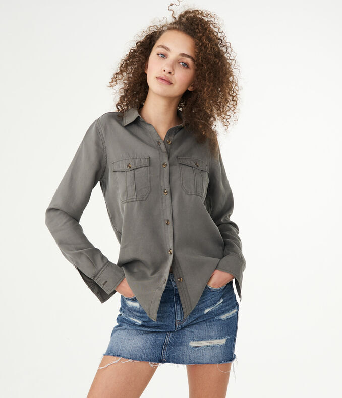 Long Sleeve Utility Button-Down Shirt