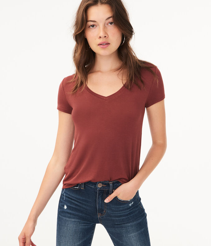 Solid V-Neck Tee