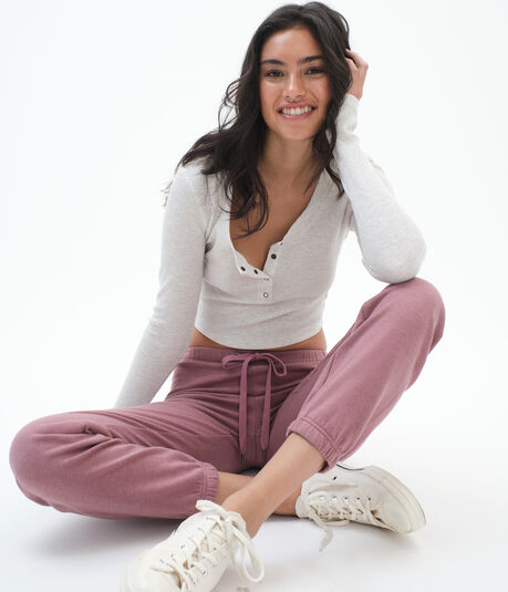 Long Sleeve Cropped Thermal Henley