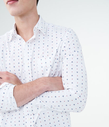 Long Sleeve Multi-Dot Geo Woven Shirt