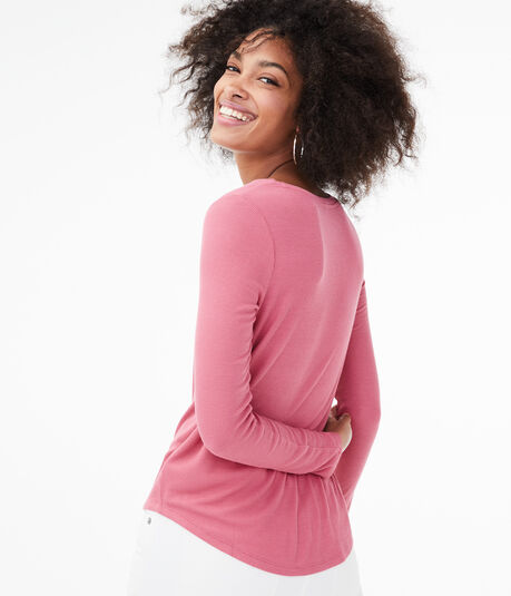 Long Sleeve Seriously Soft Ribbed V-Neck Tee