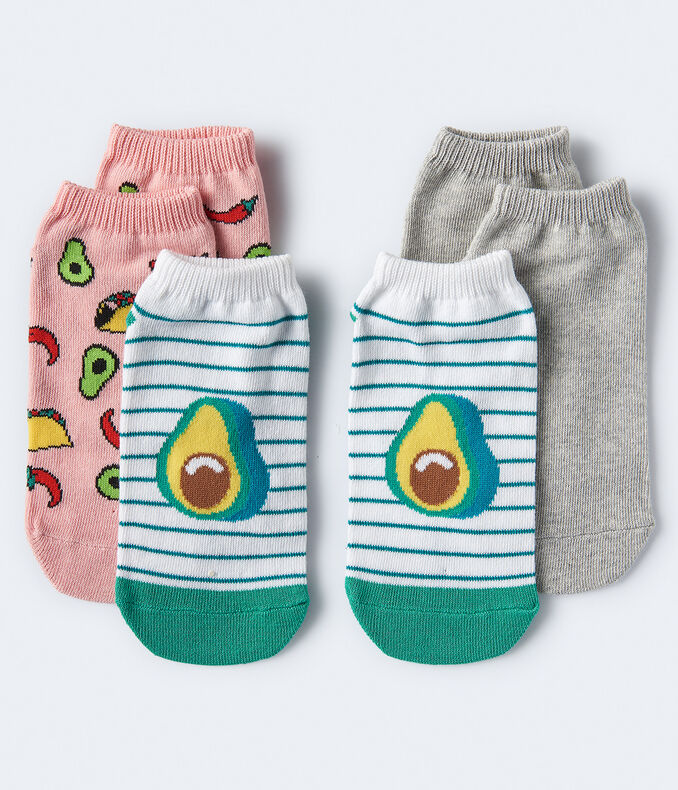 3-Pack Avocado, Taco & Solid Ankle Socks