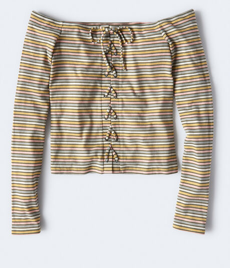 Long Sleeve Seriously Soft Striped Lace-Up Off-The-Shoulder Top