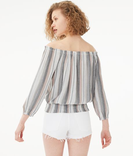 Striped Off-The-Shoulder Smocked Top