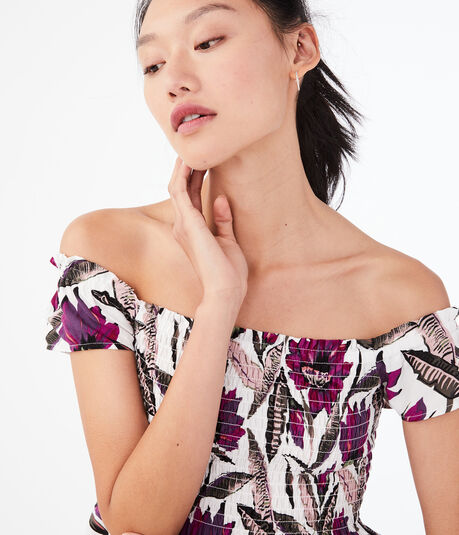 Tropical Off-The-Shoulder Babydoll Top