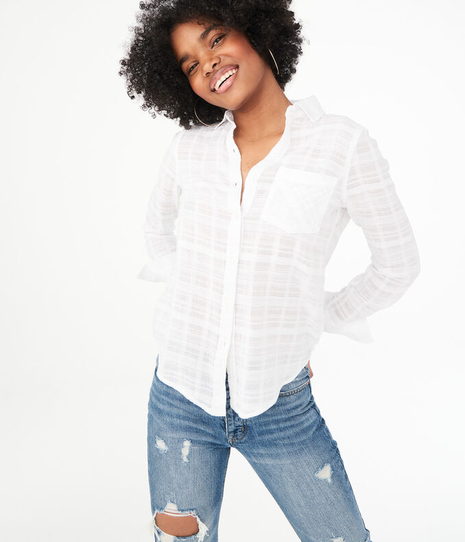 Long Sleeve Textured Button-Down Shirt