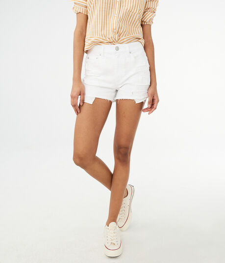High-Rise Destroyed Bleach Wash Denim Shorty Shorts