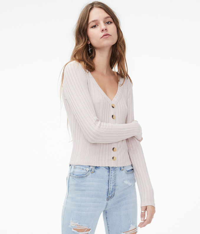 Long Sleeve Buttoned V-Neck Top