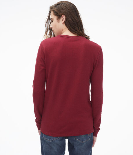 Long Sleeve Solid Crew Neck Thermal Tee