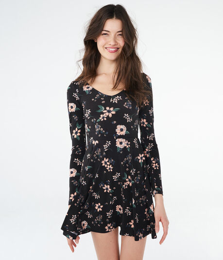 Floral Tie-Back Fit & Flare Dress