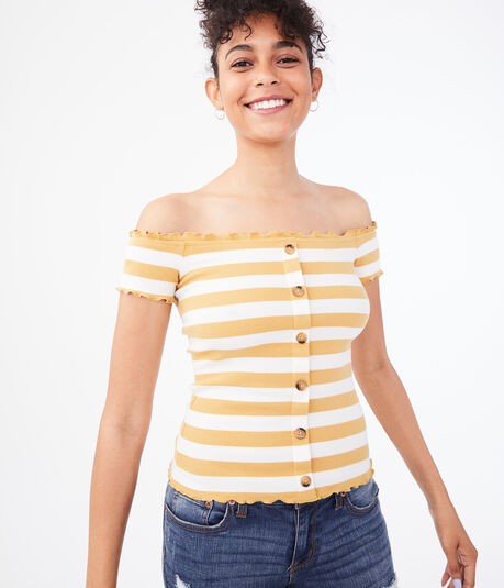 Seriously Soft Bar Stripe Buttoned Off-The-Shoulder Top