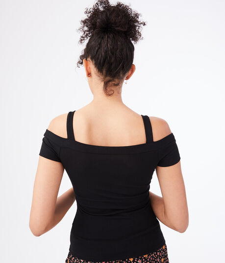 Seriously Soft Cutout Cold-Shoulder Bodycon Top