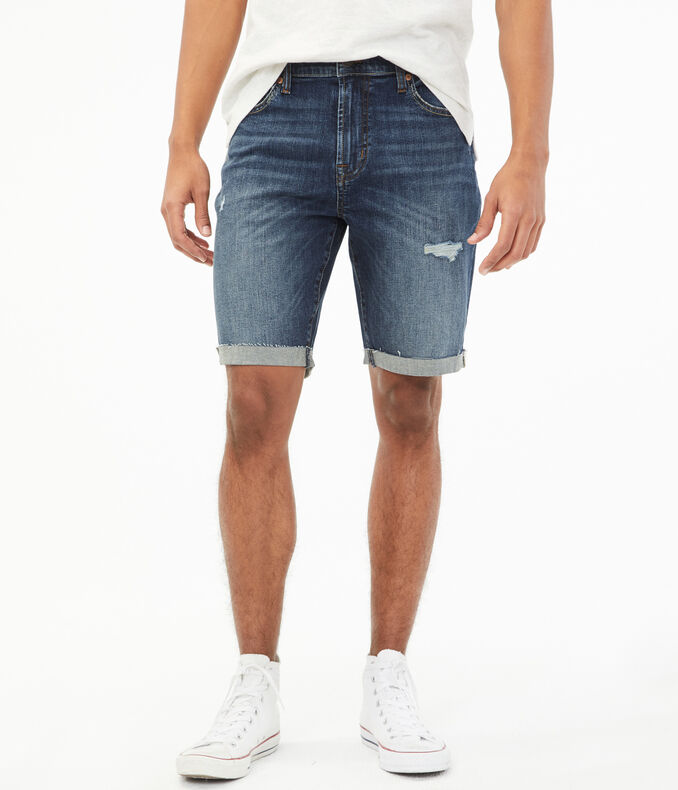"Real Denim Slim 9.5"" Cuffed Shorts"