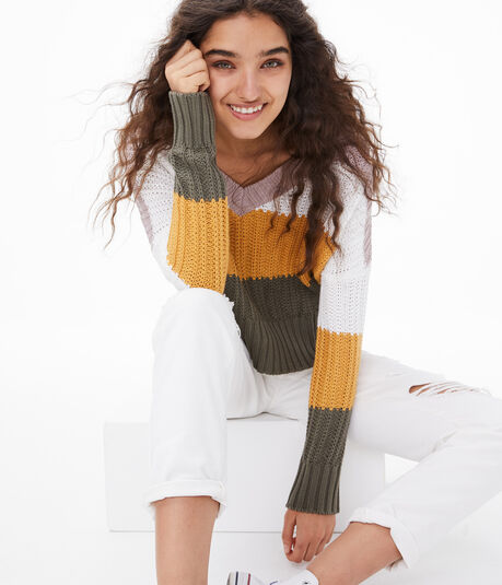Striped Cropped V-Neck Sweater