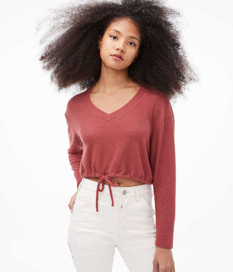 Long Sleeve Seriously Soft Cinched V-Neck Crop Top