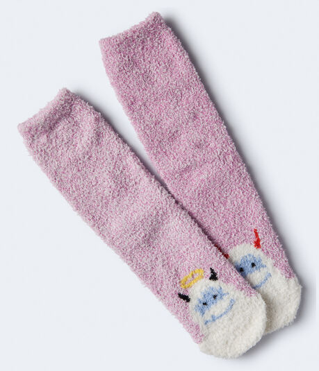 Angel & Devil Yeti Fuzzy Crew Socks