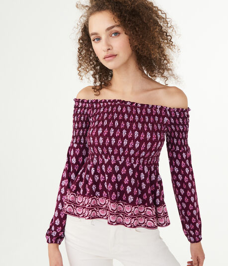 Long Sleeve Paisley Flower Smocked Off-The-Shoulder Top
