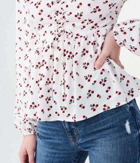 Long Sleeve Floral Lace-Up Woven Top