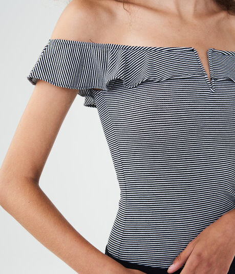 Striped V-Wire Off-The-Shoulder Bodycon Top