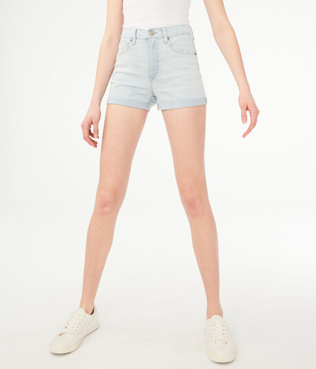 Seriously Stretchy Super High-Waisted Denim Midi Shorts***