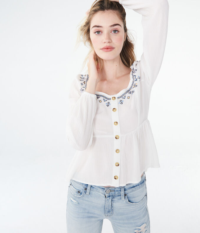 Long Sleeve Embroidered Babydoll Peasant Top