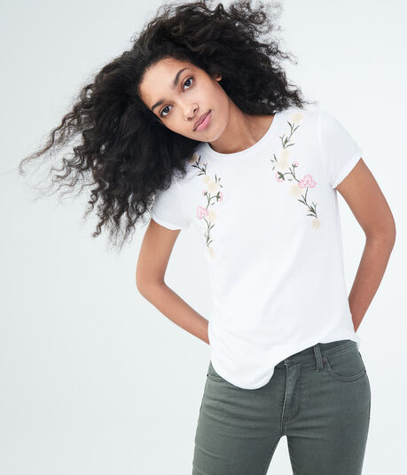 Seriously Soft Floral Embroidered Graphic Tee