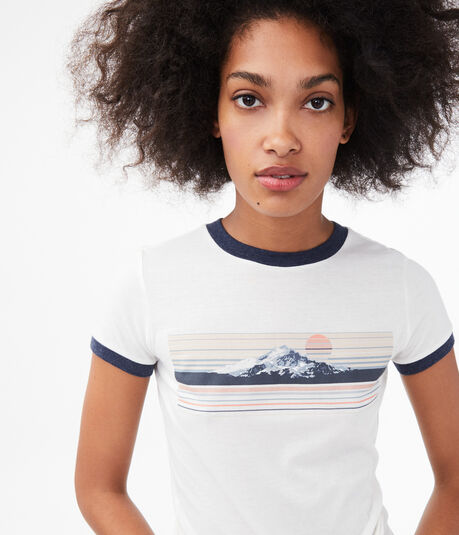 Free State Mountain Stripe Ringer Graphic Tee