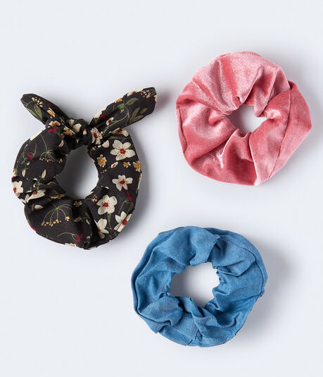 Floral Bow Scrunchie 3-Pack