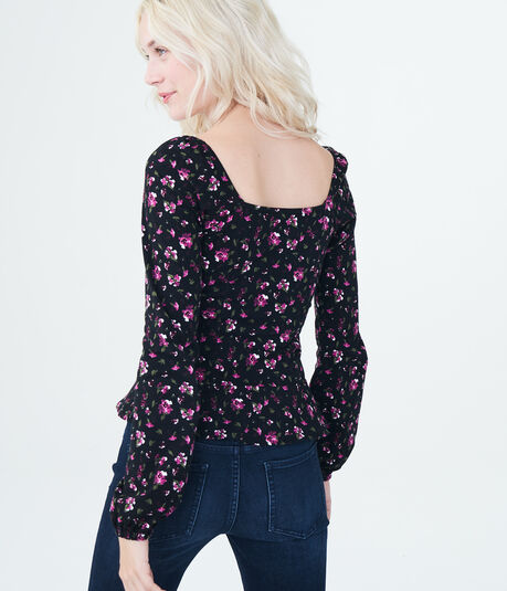 Long Sleeve Floral Button-Front Peplum Top