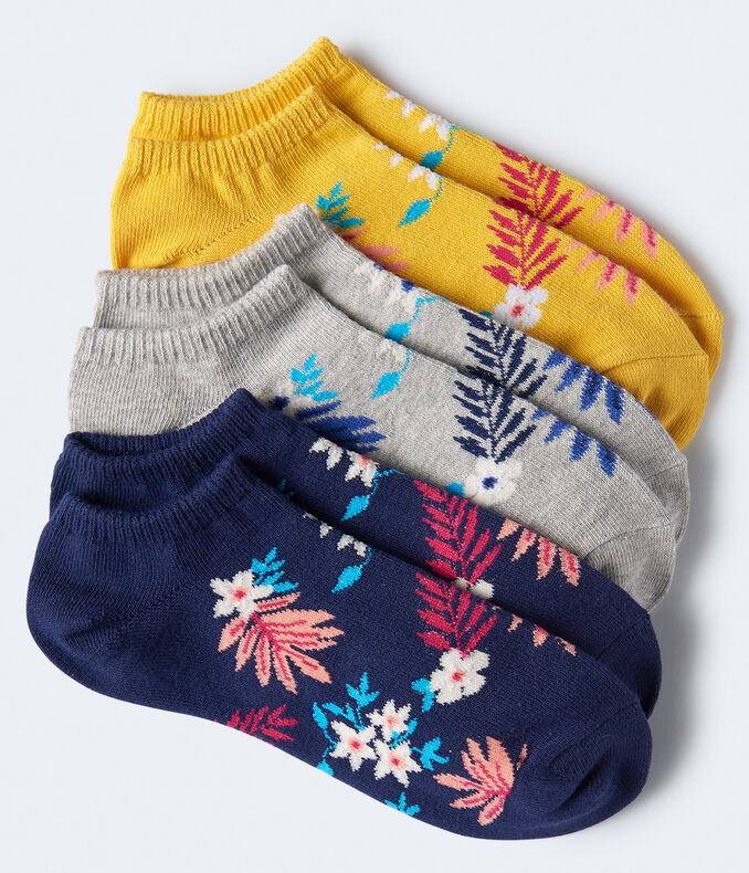 Tropical Floral Ankle Sock 3-Pack
