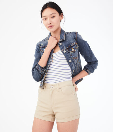 Seriously Stretchy High-Rise Cuffed Midi Shorts