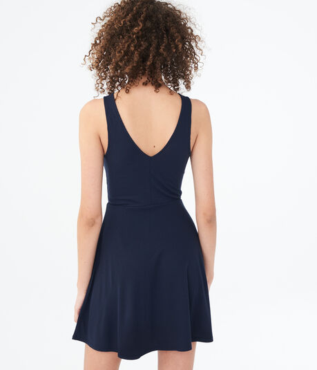 Solid High-Neck Fit & Flare Dress***