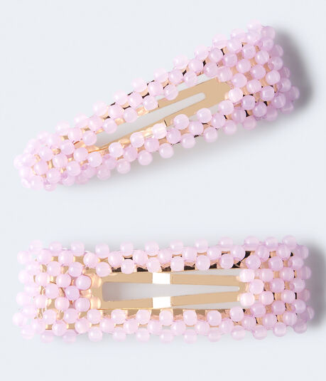 Milky Bead Snap Hair Clip 2-Pack
