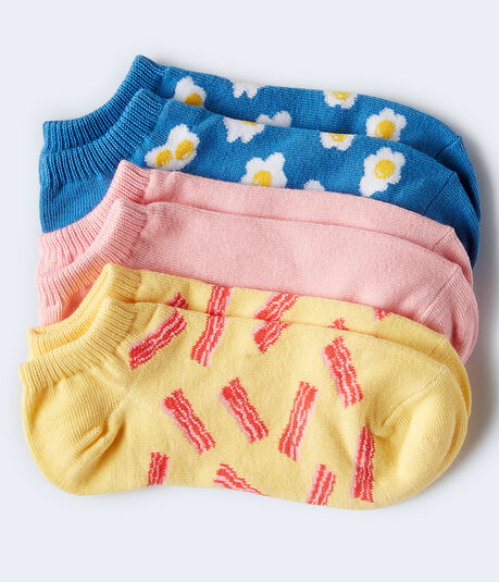 3-Pack Bacon, Eggs & Solid Ankle Socks