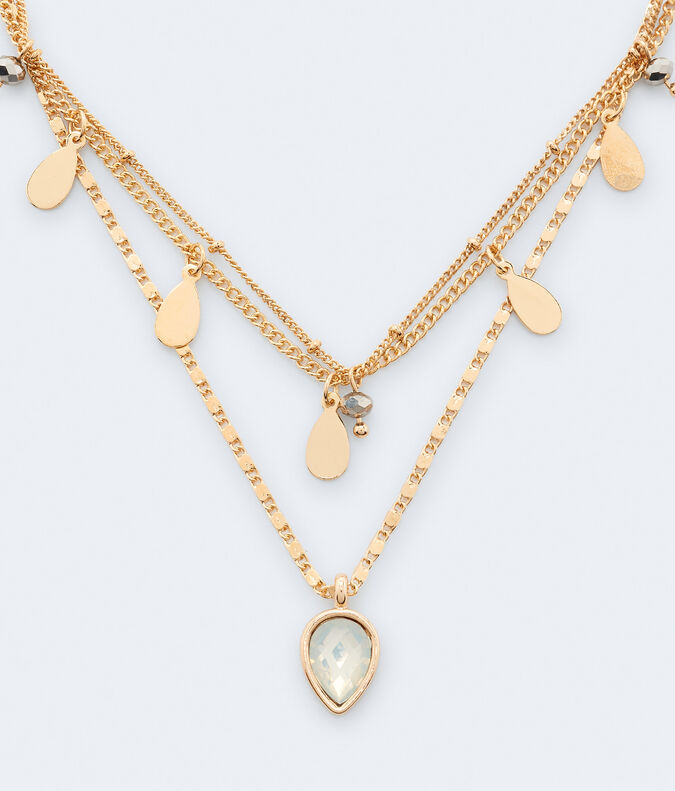 Teardrop Charm & Faux Gemstone Necklace 3-Pack