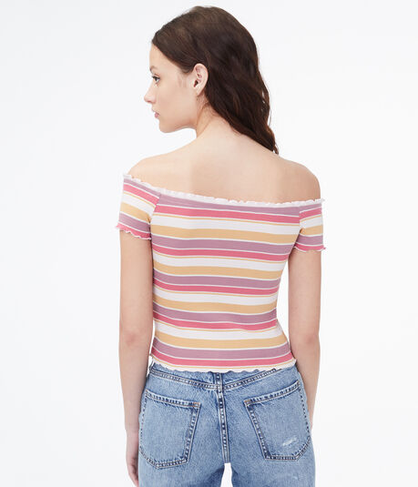 Striped Off-The-Shoulder Bodycon Top