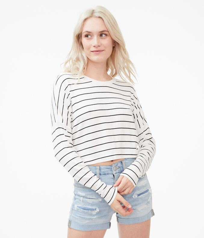 Long Sleeve Striped Cropped Dolman Slouchy Tee