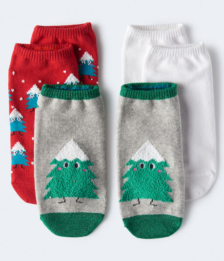 Fuzzy Christmas Tree Ankle Sock 3-Pack***