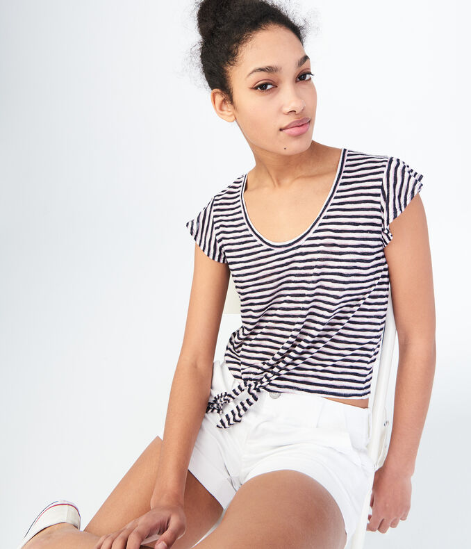 Striped Tie-Front Tee