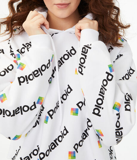 Polaroid Pattern Cropped Pullover Hoodie***