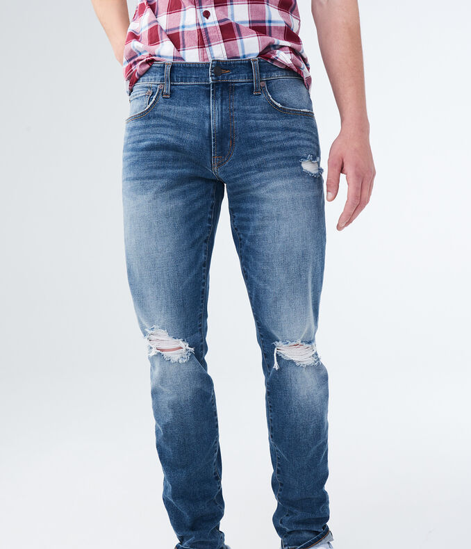 Flex Effects Super Skinny Medium Wash Destroyed Jean