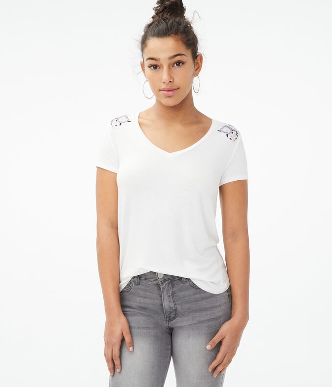 Seriously Soft Floral Embroidered V-Neck Tee