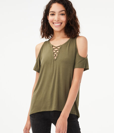 Seriously Soft Cold-Shoulder Lace-Up Top***
