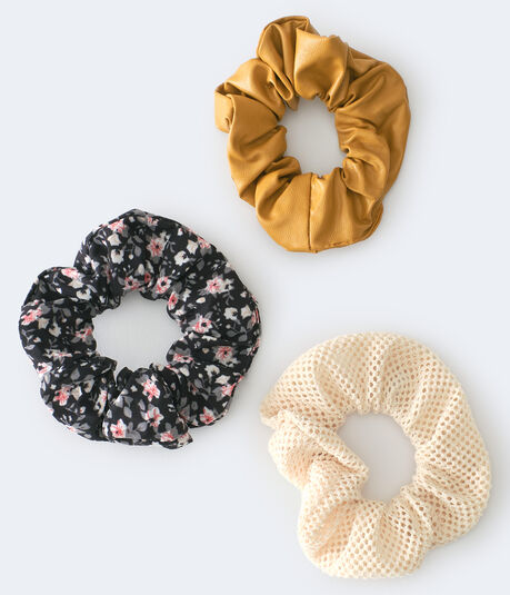 Faux Leather Scrunchie 3-Pack