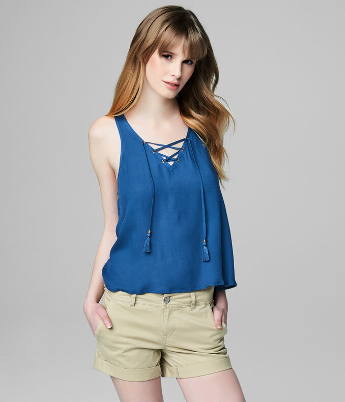Prince & Fox Solid Lace Up Tank